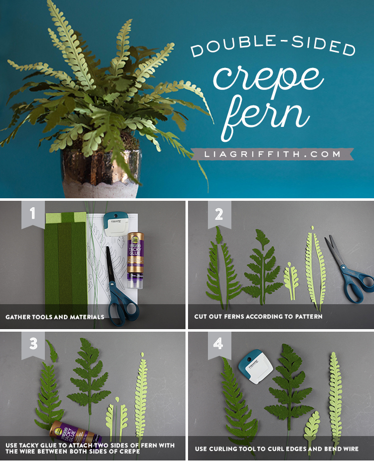 DIY Double-Sided Crepe Paper Fern Plant - Lia Griffith