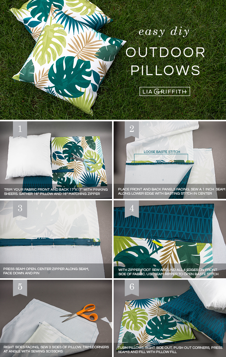 Tutorial for easy DIY outdoor pillows