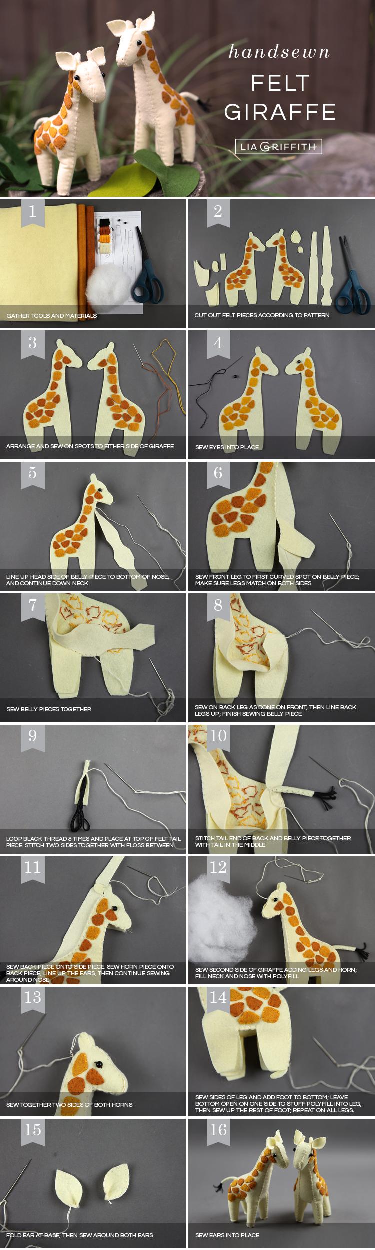 Photo tutorial for making handsewn felt giraffes