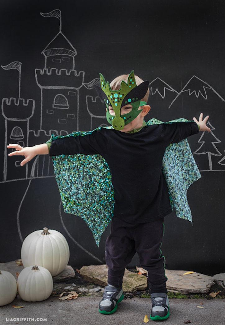 Boy wearing felt dragon no sew costume