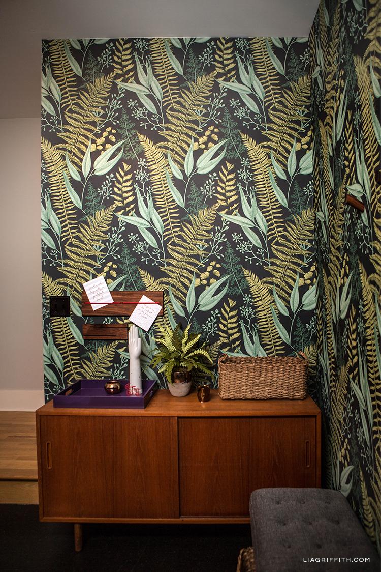 Fern wallpaper in basement entryway
