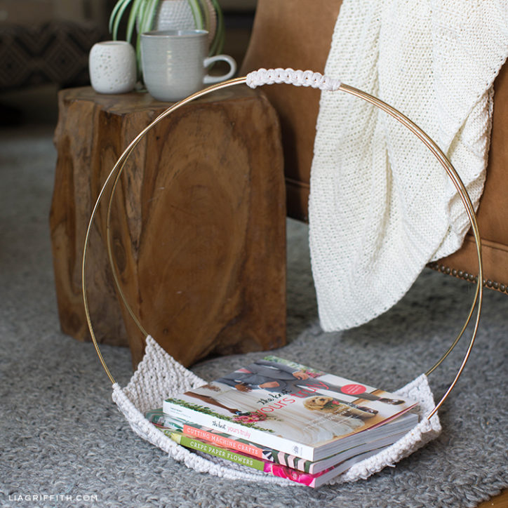 Macrame magazine holder by side table