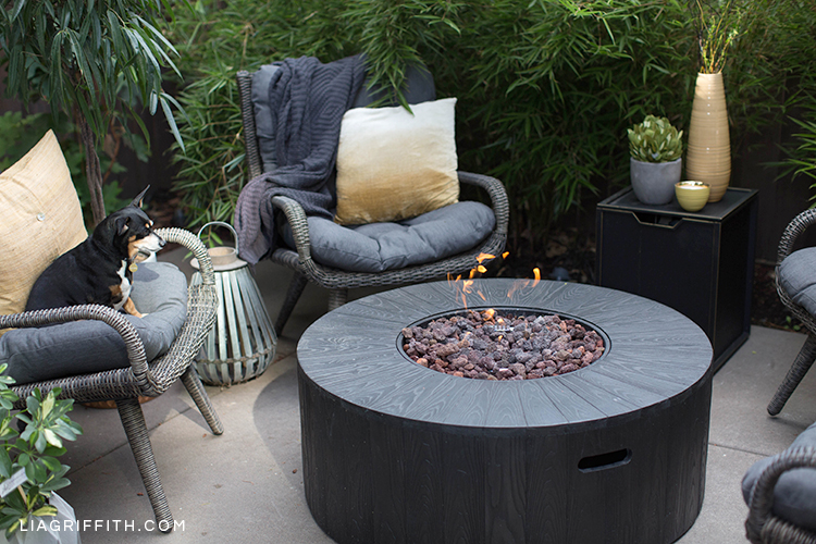 Outdoor fire pit from Hayneedle with wicker seats, saffron pillows, plants, and dog