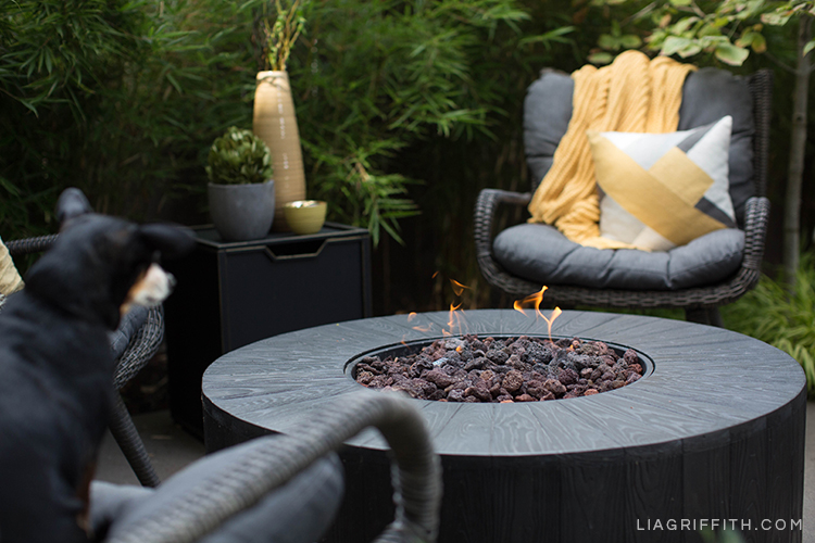 Outdoor fire pit from Hayneedle with wicker seats, dog, plants, and vases