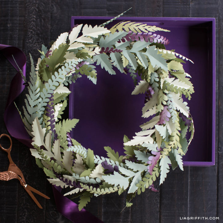 DIY fall wreath made from paper fern leaves