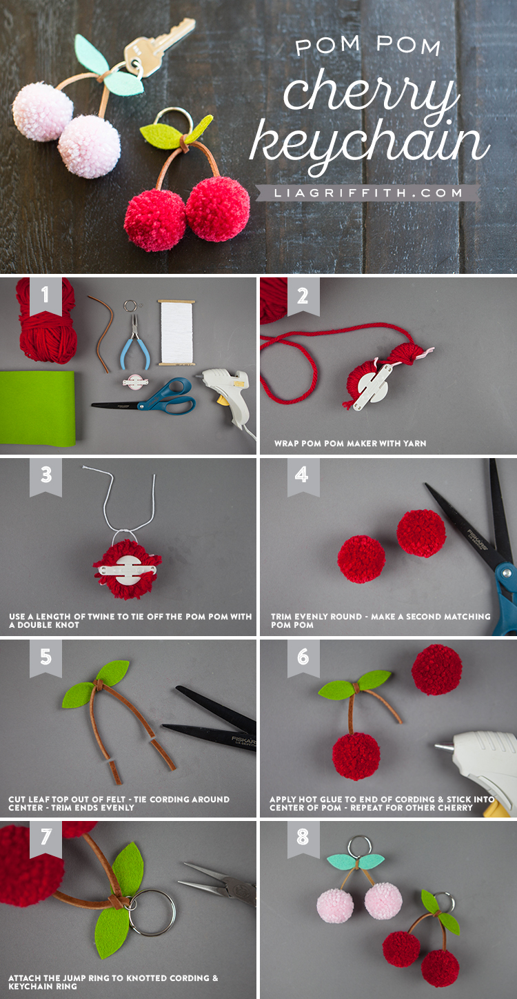 Tutorial for making a cherry pom-pom keychain