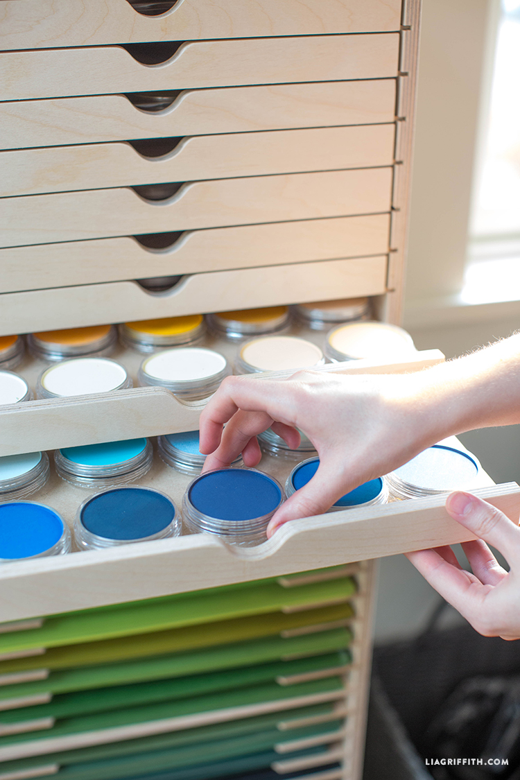 Stamp-n-Storage drawer cabinet with pastels in shelf trays