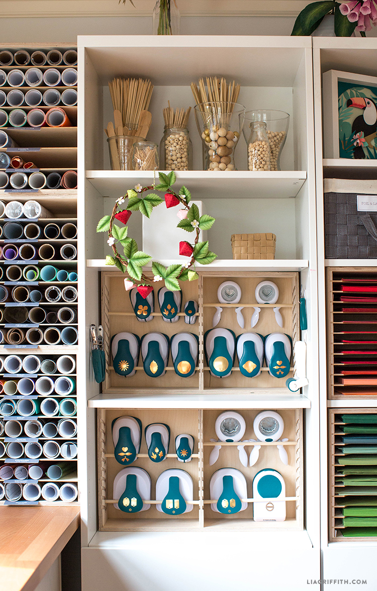 Organizing vinyl, wood materials, punches, and paper with craft room storage ideas from Stamp-n-Storage