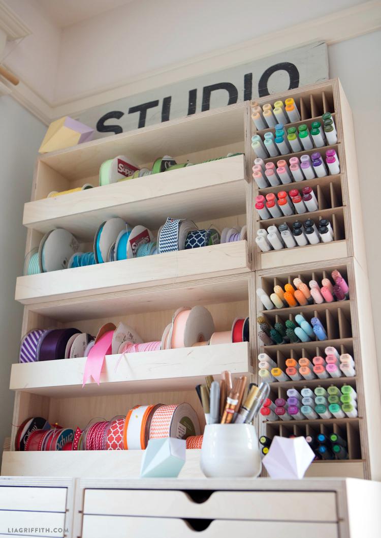 Stamp-n-Storage ribbon shelf and stacked marker holder
