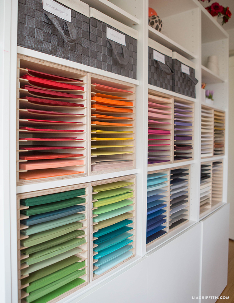 Papers organized by color in paper holders from Stamp-n-Storage