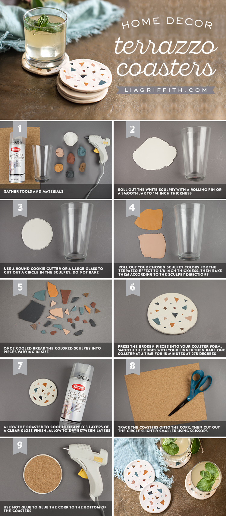 Tutorial for making home decor terrazzo coasters