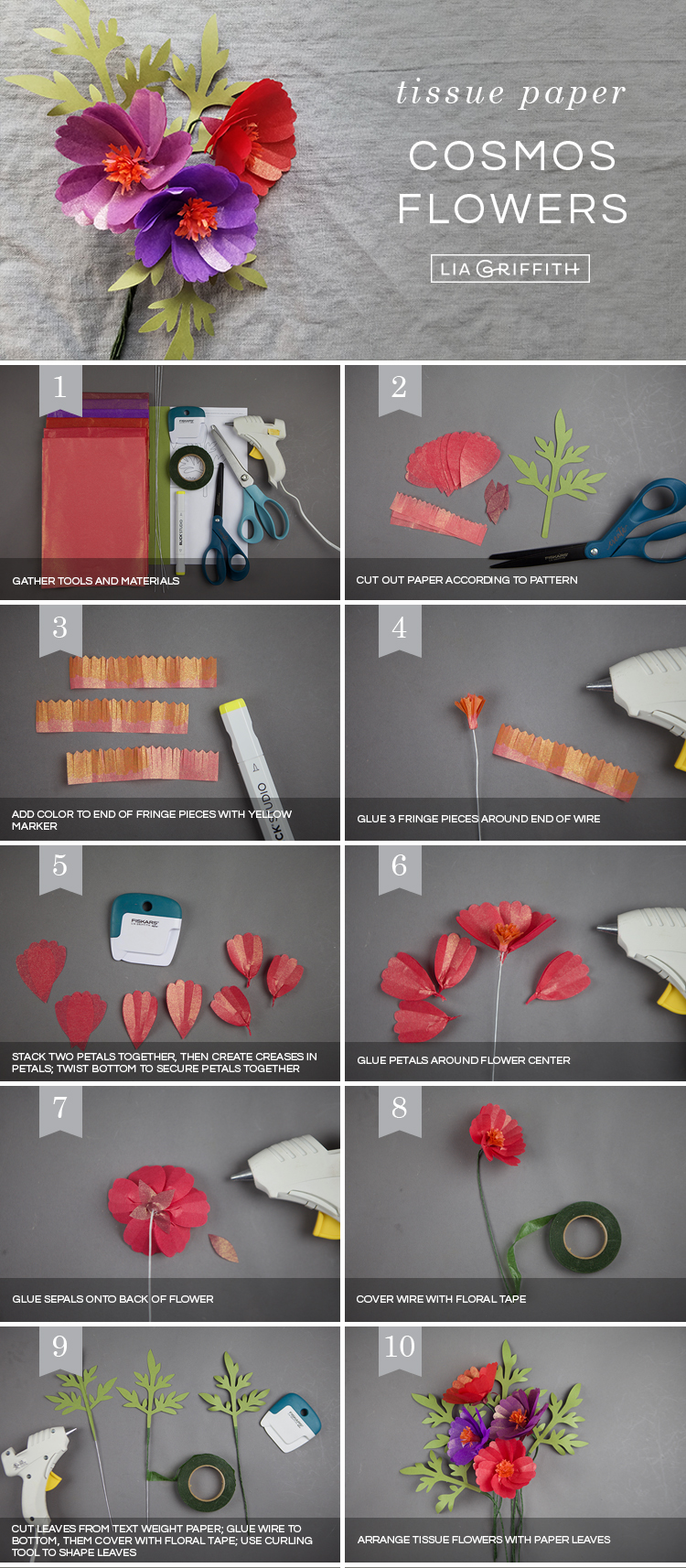 Photo tutorial for tissue paper cosmos flowers