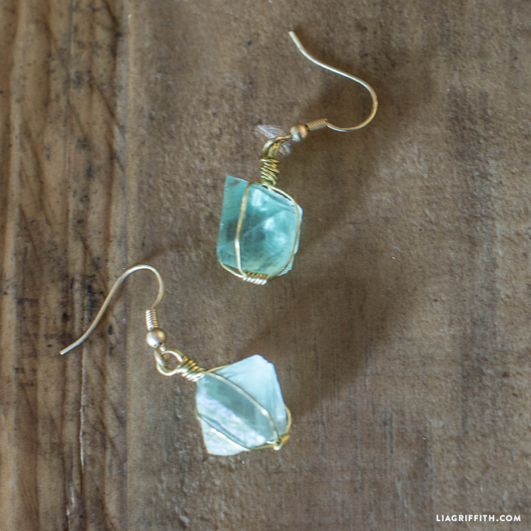 Close-up of wire wrapped crystal earrings