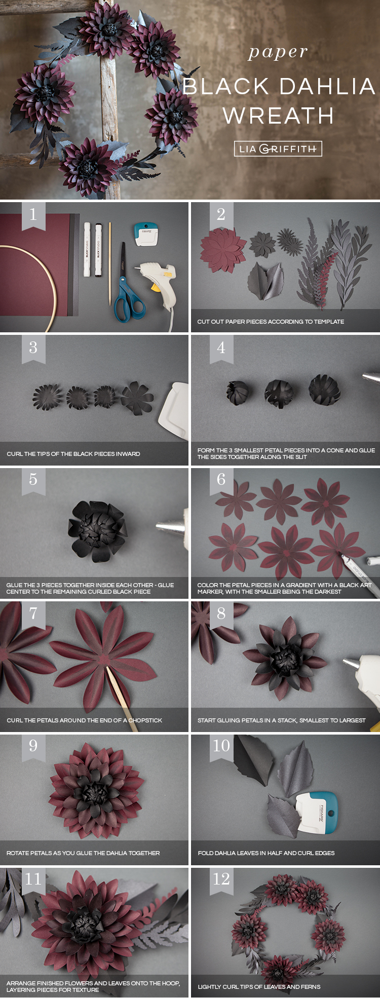 Photo tutorial for black and purple paper dahlia wreath by Lia Griffith