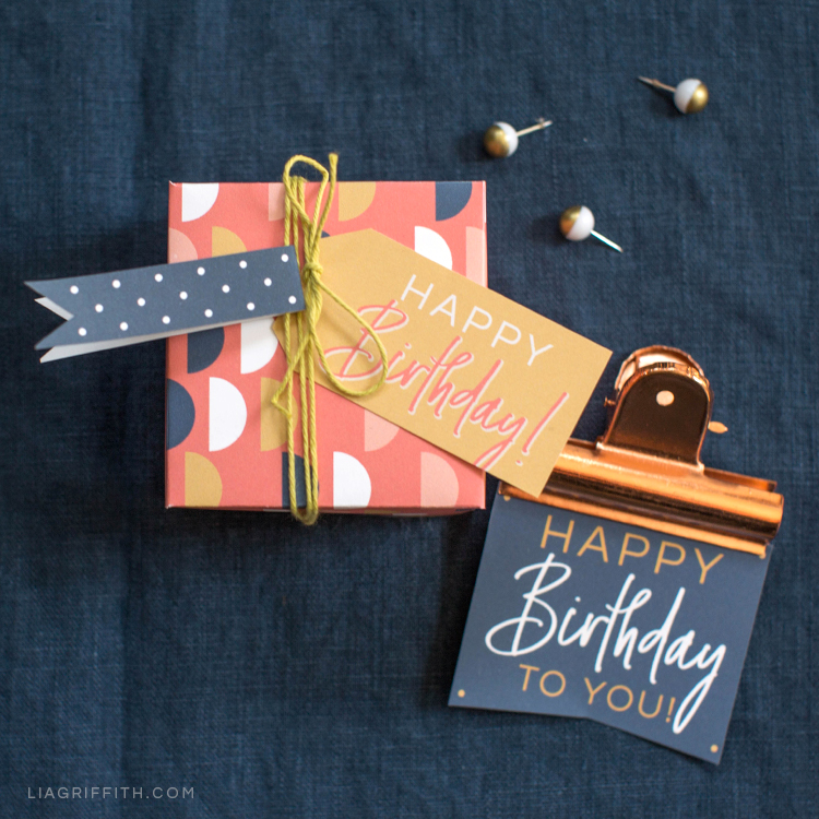 Printable birthday gift box and tags