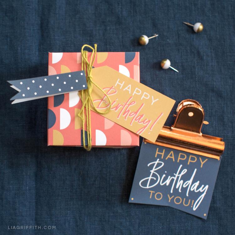 Printable birthday gift box and tags