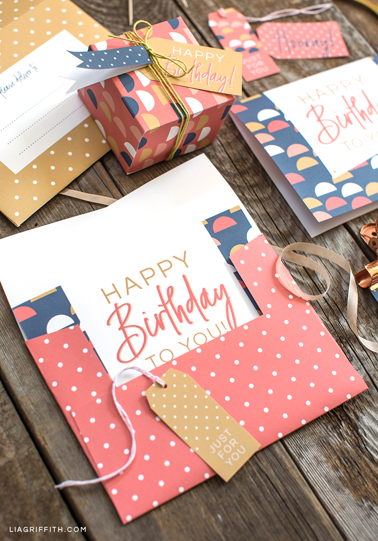 Printable birthday card, envelope, gift box, and gift tag