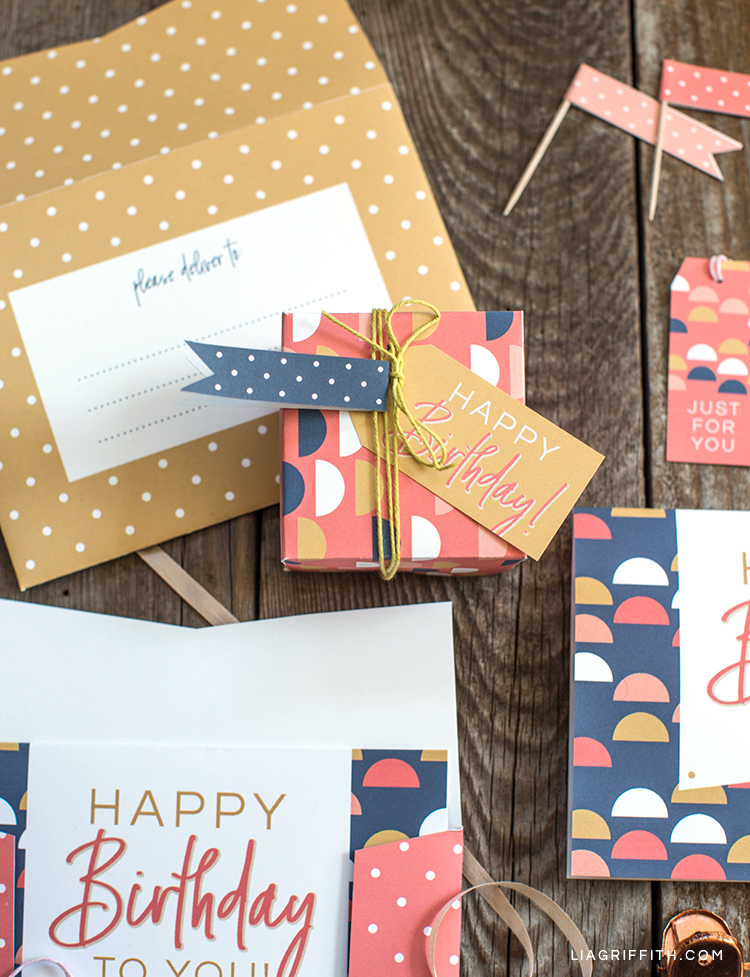 Printable Birthday Card Gift Box Tag And Envelope