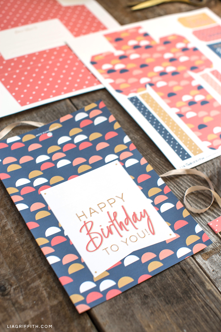 Printable birthday card on table