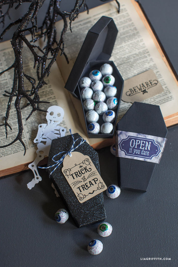 Paper coffin treat box for Halloween