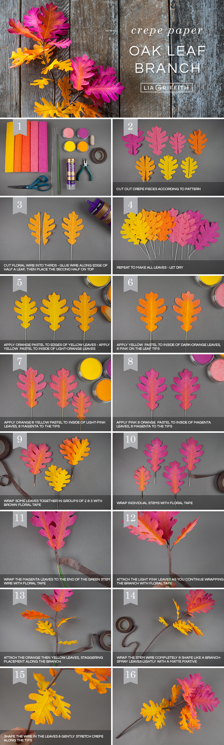 Photo tutorial for crepe paper ombré oak leaf branches by Lia Griffith