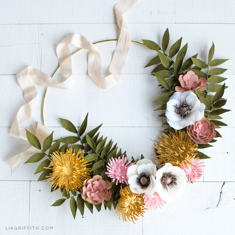 How To Make A Gorgeous Paper Flower Wreath For Fall Lia Griffith