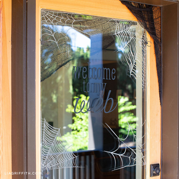 Spiderweb window clings on front door