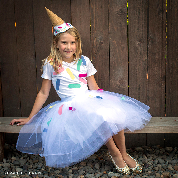 Diy ice cream cone costume for halloween lia griffith this diy ice cream cone costume is cute fun and easy to make you could even create an adult sized version for yourself solutioingenieria Choice Image