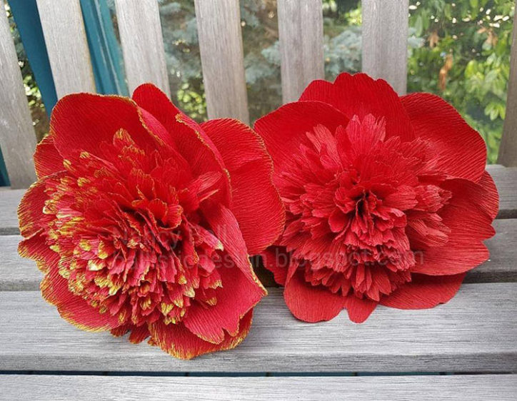 diy red charm peonies