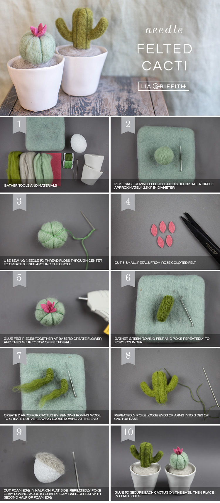 Photo tutorial for needle-felted mini cactus plants by Lia Griffith