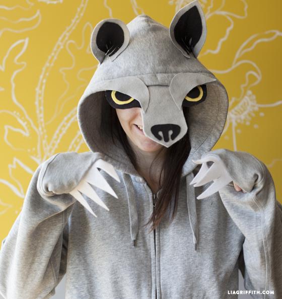 No sew wolf hoodie costume
