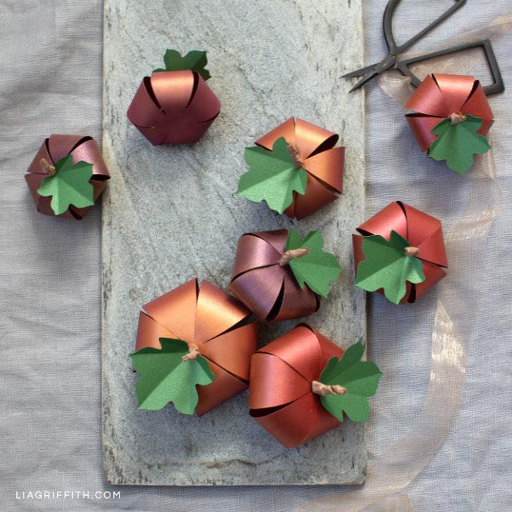 ombré paper pumpkins