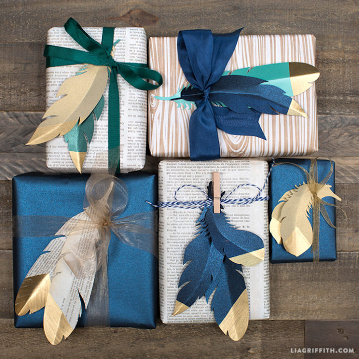 Gold-Tipped Paper Feathers Gift Toppers