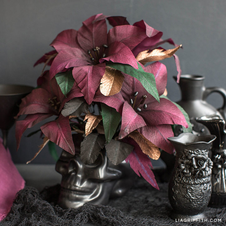 Crepe paper Queen of the Night lilies in black skull for Halloween