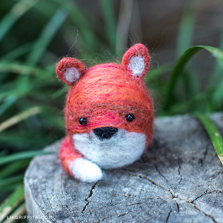 Needle felted fox outside