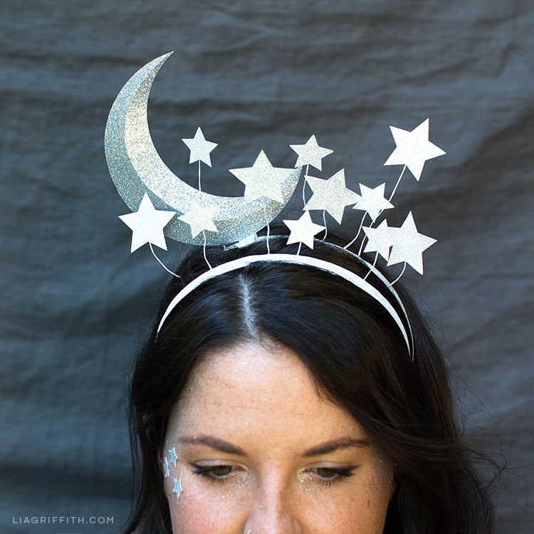 Women wearing DIY moon headband for Halloween costume