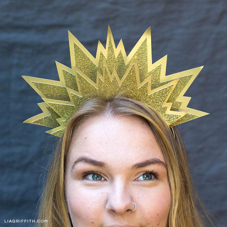 Women wearing DIY sun headband for Halloween outfit
