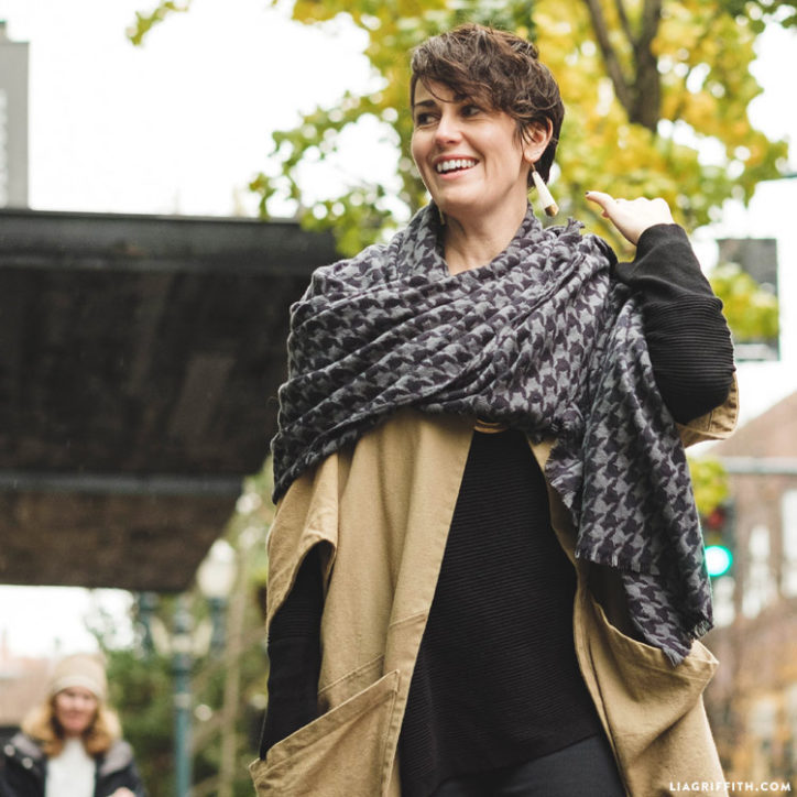 Women wearing DIY blanket scarf