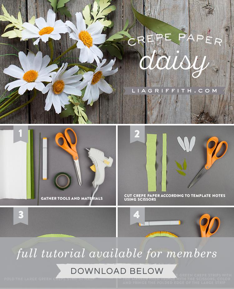 Diy easy crepe paper daisy flower video tutorial.