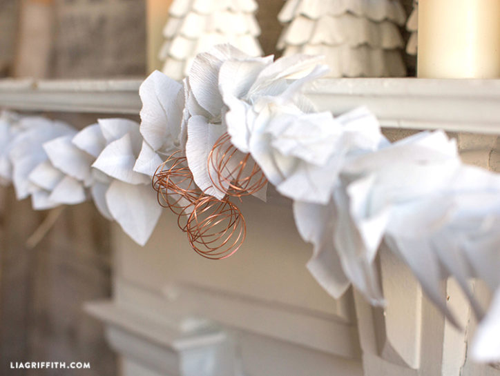 Crepe paper leaf garland by Lia Griffith
