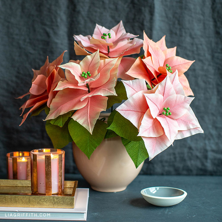 Pink Crepe Paper Poinsettia Plants For The Holidays Lia Griffith