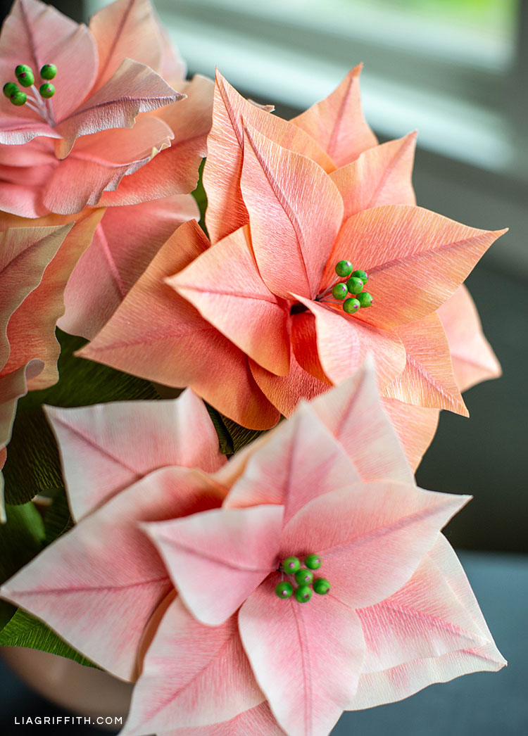 DIY pink crepe paper poinsettia plants