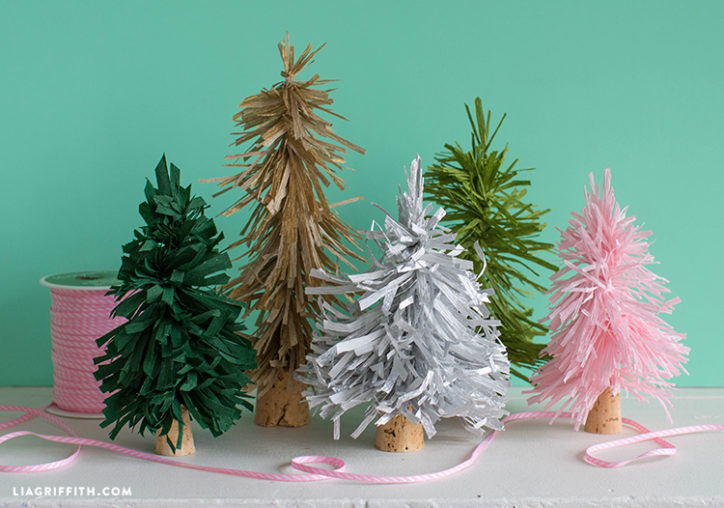 Crepe paper bottle brush tree decor by Lia Griffith