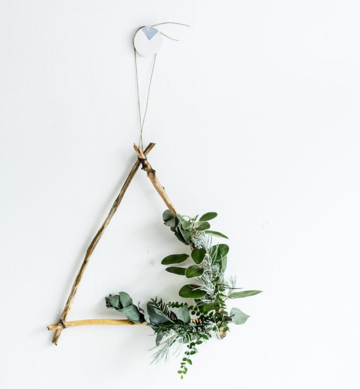 DIY triangle Christmas wreath