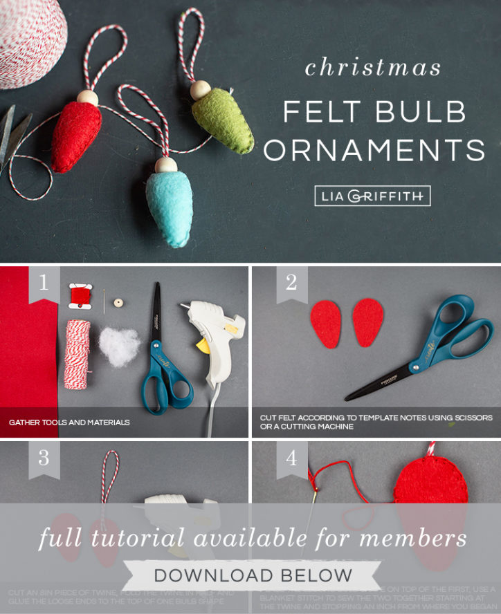 Photo tutorial for Christmas felt bulb ornaments by Lia Griffith