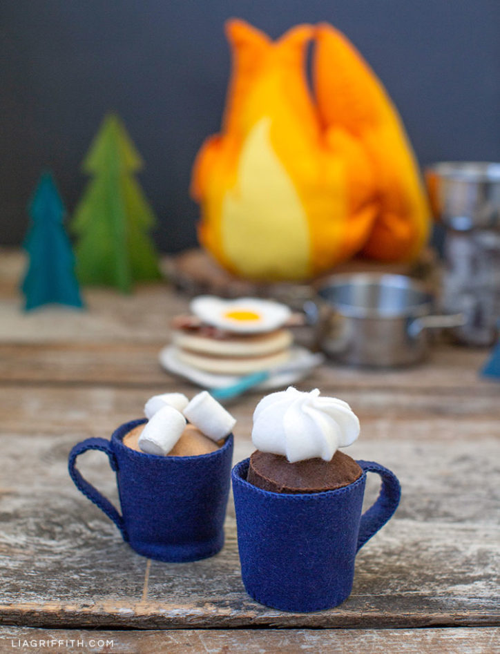 felt play cafe with coffee mug and hot cocoa with marshmallows