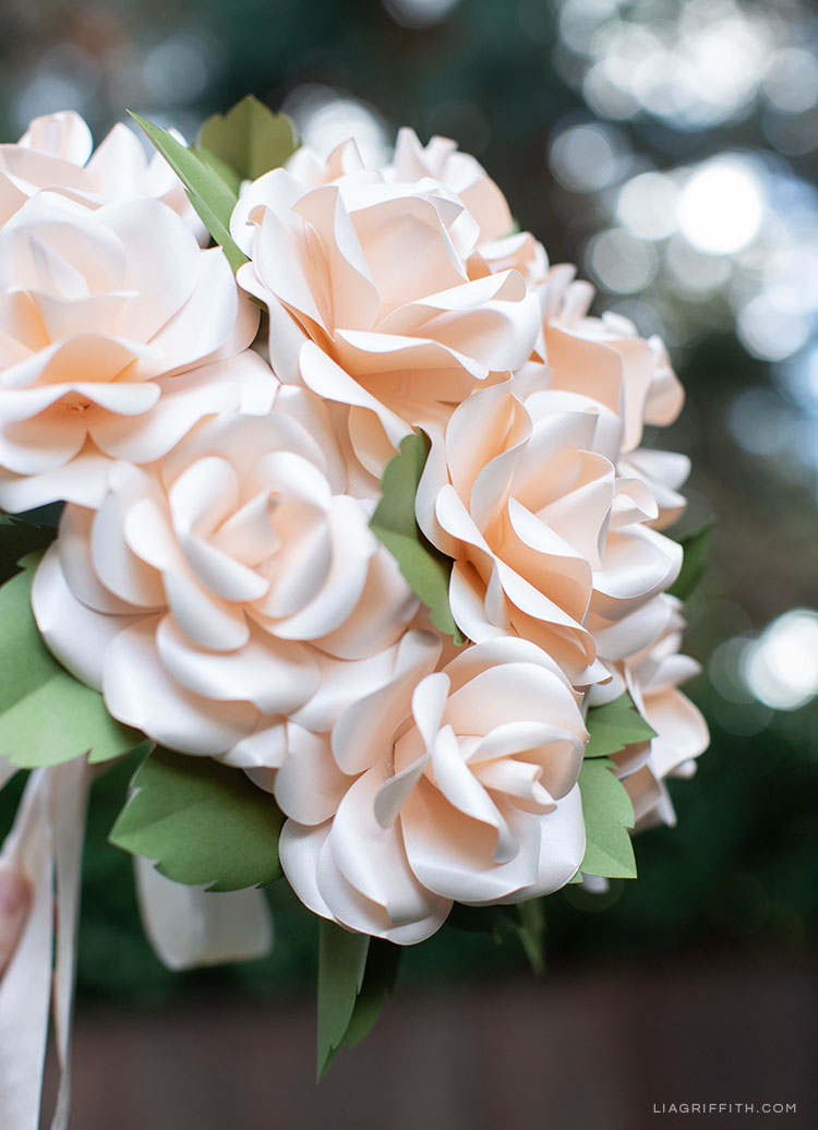 Frosted paper rose bridal bouquet
