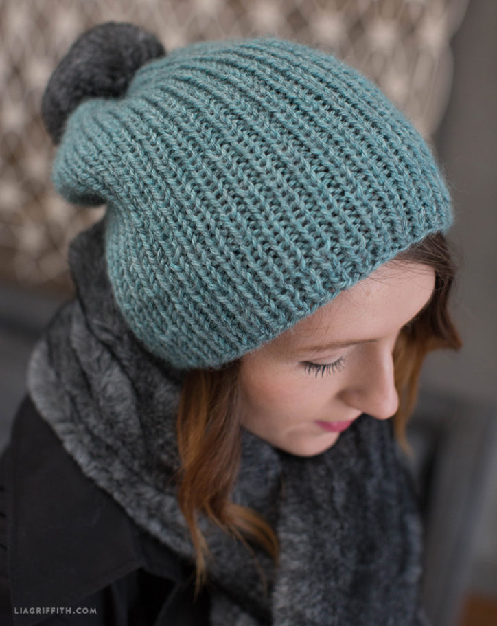 DIY Knit Hat with Fur Pom Pom