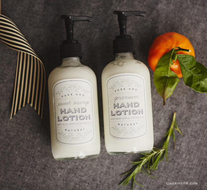 Homemade hand lotion with printable labels