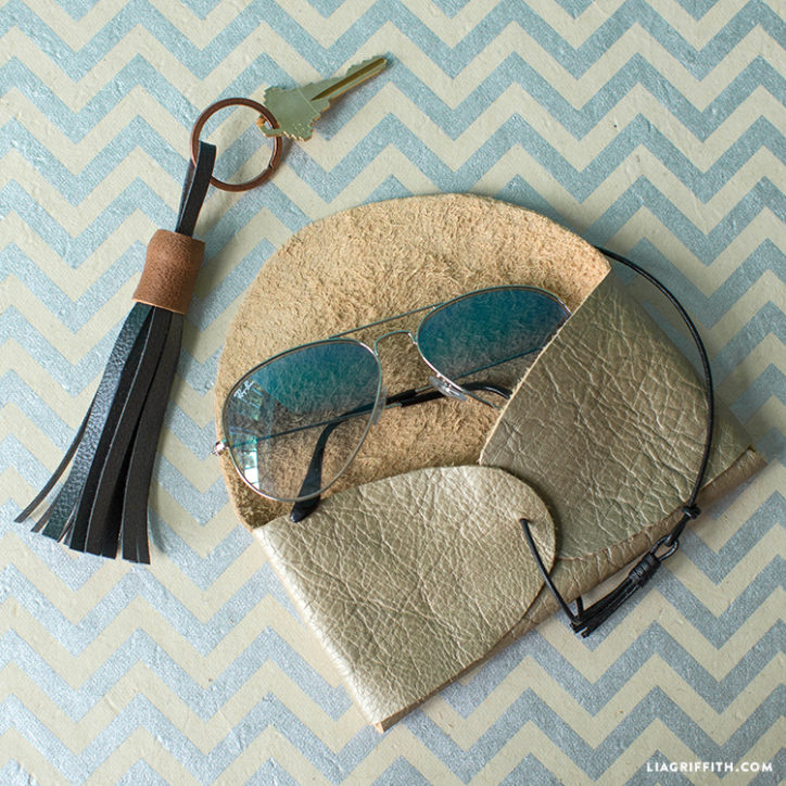 DIY leather sunglasses case with sunglasses and leather keychain